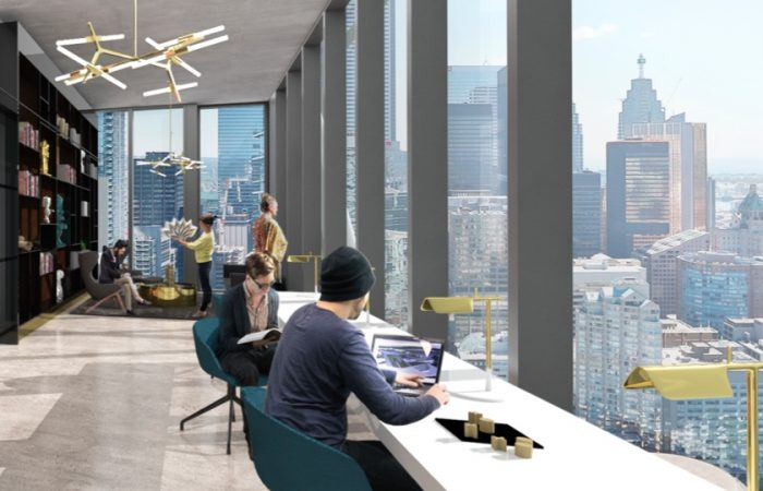 Internal rendering of The Well's office space with city view